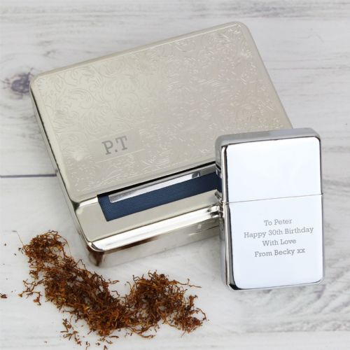Personalised Tobacco Rolling Tin and Silver Lighter Set Gift For Fathers Day
